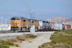 A new UP Tier 4 Gevo #2650 leads an older UP AC4400CW and a UP AC6000CW on an westbound manifest at Dike (Devore) CA. 7/3/2017