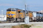 UP Tier 4 #2650 is in notch eight as it and two more GE's blast through Devore with a westbound freight
