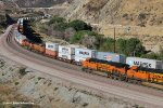 Three BNSF stack trains max out Blue Cut-Cajon Pass Ca.