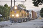 UP 1533 with the Riverside Local doing some street running at Colton CA. 11/30/2011
