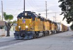 UP 1533 (GP40-2) Street running with the Riverside Local at Colton CA. 11/30/2011