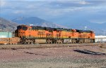 A forecasted storm is moving in as BNSF 7373 (ES44DC)  leads an L.A. bound stack train through Devore CA. 11/24/2013
