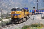 UP ES44AC #5488 and two SD70M's are westbound at Canyon. MP 470.0 on the UP Mojave Subdivision.