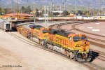 Two BNSF Gevo's #7751 & 7757 position an empty Intermodial train for loading at the San Bernardino rail head. 1/12/2011