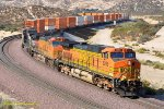 BNSF 5289 with some help from NS Dash 9 #9800 drops down Cajon Pass with a stack train bound for L.A. 9/18/2009