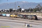 The SP is still making its self known on this east bound freight at West Colton, CA. 1/16/2011