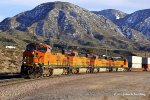 A recent snow storm has left it's mark on the surrounding hills as BNSF 7434 leads an eastbound stack train through Cajon CA.  1/4/2011