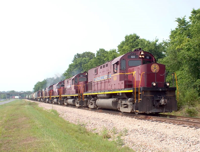 The A&M Monett Turn leaves Monett. Near MP 282.