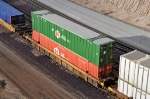 DTTX 728347 with containers: HGIU 630361 and UPHU 244500. Cajon Summit. 12/29/2009