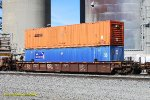 BNSF 208101 with Containers: SNLU 993179 & APDU 355527. Monolith CA. 11/14/2017