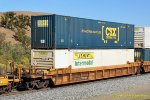 DTTX 729786-B with Containers: CSXU 634373 & JBHU 281950 at Cable-Tehachapi CA. 10/26/2018