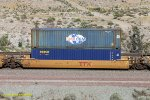 DTTX 765657-C. with containers: ECMU 801100 & SEGU 589440 at Blue Cut, CA. 6/27/2017