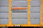 "BNSF ""Swoosh"" panel on Tri-Level Autorack ETTX 908142 at Canyon-Cajon Pass.  3/15/2010"