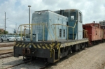 """Air Force #1673, also known as """"Little Blue,"""" is an 80-ton center cab switcher (Model R5-4-T) built in 1952 by General Electric. Little Blue was purchased by the Galveston (TX) Railroad Museum from the Federal Government in 1994 and moved from Barksdale A"""