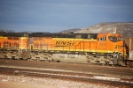 BNSF 6410 waits at Donkey Creek why a snow storm is own the verge of coming