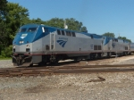 AMTK 95 and AMTK 831 lead Amtrak train 391 the southbound Saluki as it makes its station stop at Effingham IL
