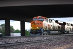 BNSF 7883 and BNSF 7882 cross underneath the Hwy 89 overcrossing as they pull west a Z train on their first run west.
