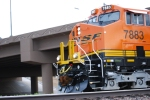 A Very Close UP Shot of the cab of BNSF 7883 Brand New ES44DC as she pulls a westbound Z.