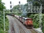 CN 2452 heading under the signal bridge at Snake,