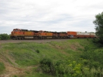 Three BNSF Dash-9's hustle west