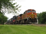 BNSF 4821 & 4470 return to track speed with eastbound stack train S-SEACHC