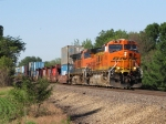 Almost to Savanna, BNSF 4116 & 969 lead stack train S-LPCTAC north up the Barstow Sub