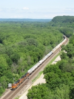 BNSF 7302 leads intermodal south by the detector