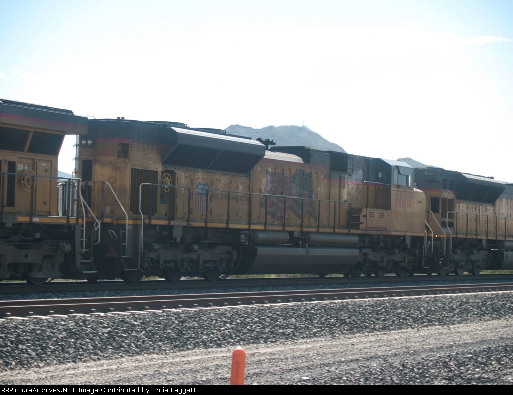 UP 8610 #2 power in a WB autorack at 9:53am