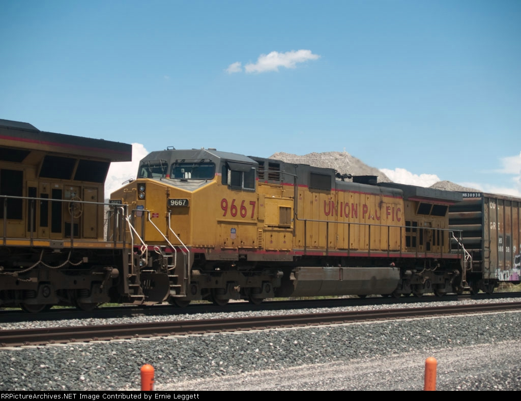 UP 9667 #2 power in a WB manifest at 2:09pm