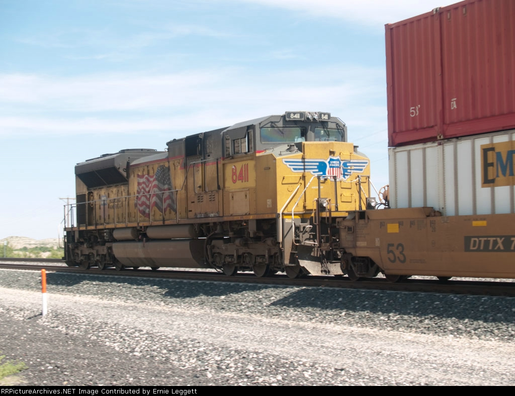 UP 8411 rear DPU in an EB doublestack at 10:51am