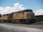 UP 5523 leads an EB doublestack at 2:10pm 
