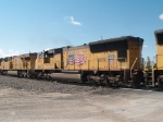 UP 4921 #3 power in a WB doublestack (ZAPLC-07) at 9:31am