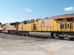 UP 7458 #4 power in a WB doublestack (ZAPLC-07) at 9:31am