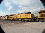 UP 7403 #3 power in a WB doublestack (IEWLB-08) at 8:24am