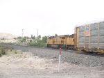 UP 7398 leads an EB doublestack (IGSDI3-07) at 9:36am
