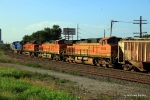 BNSF 4605 is the trailing motor on an all GE powered empty grain train