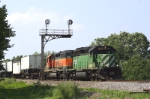 Eastbound intermodal ducks under ex-NP cantalever signals
