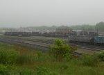 Power in Rigby Yard on a foggy morning