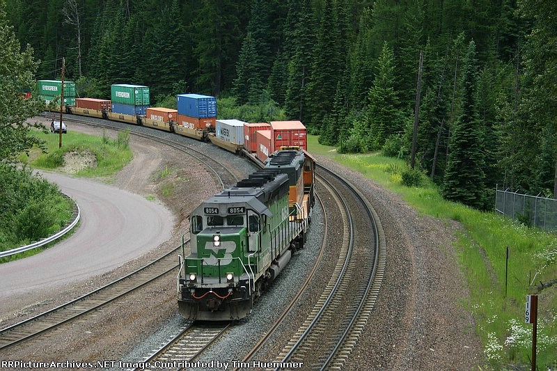 Westbound SD40-2 stack train