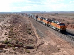 BNSF 4386 Leads Eastbound Stack Train