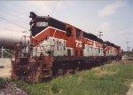 Bangor & Aroostook GP7s standing in Northern Maine Junction, June 1991