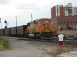 Me watching BNSF #8861 pushing on the rear of a westbound empty at Kentucky Street