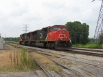 CN power backing up onto the freight