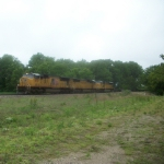 UP 4757 eastbound UP baretable train