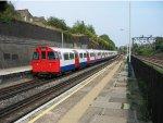 A London Tube train at Willesden Junction, near London