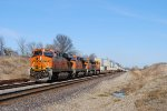 A beautiful combination stack and piggyback train led by BNSF 7222.