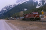 CP 8734 pulls a westbound past the east switch of the yard