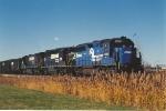 Coal train waits to move east