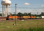 A BNSF freight heads west