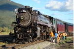 "CP 2816 The ""Empress"" receives lots of TLC to look her best for the Revelstoke Railway Days"